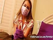 Nurse Kimber Lee Gives Handjob In Her Purple Latex Gloves!