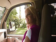 A Blonde With Big Bouncy Tits Is Fucked In The Car And Licked To