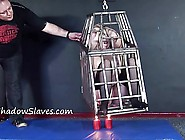 Caged Blonde Female Slaves Whipping And Hanging Bondage