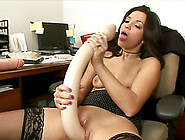 Office Bitch In High Heels Using Big Dildos On Her Ass And Pussy