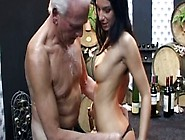 Cute Sexy Brunette Clarissa Gets Fucked By The Deaf Old Bastard