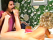 Curly Retro Blonde Rolls Her Eyes With Pleasure While Horny Guy
