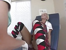 Hot Blonde Milf Gyno Doing A Check Up On This Lovely Teen School