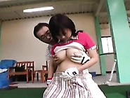 Pigtailed Asian Girl With Big Tits Kneels Down And Pleases