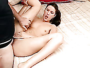 Brunette Slutty White Teen Spreads Her Legs On The Bed And Fucks