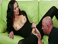 Sexy Brunette In Crotchless Pantyhose Asks Her Lover To Eat Her