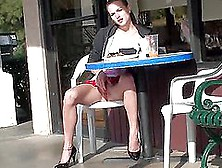 Bored Babe At A Cafe Masturbates In Her Table