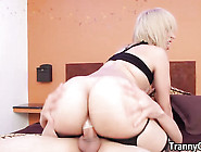 Massive Ass Shemale Fucked Until She Cumshots On Her Ts Tummy