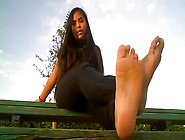 Gorgeous Teenage Latina Exposes Her Lovely Feet While Resting An