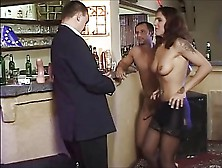 Brunet In Bar Fisted And Fucked