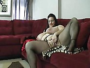 Fat Woman,  Marina Moore Is Wearing Fishnet Pantyhose And Satin C