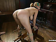 Bent Over Well Shaped Tied Up Blondie Sucks Strong Fat Cock For