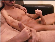 Dad And Hairy Son Jerk Off Together.