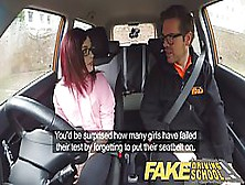 Red Haired Babe Got Fucked During A Driving Class,  Instead Of Le