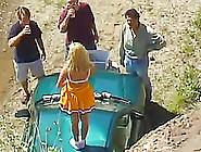 Admirable Cheerleader In A Gangbang Being Drilled On A Car Outdo