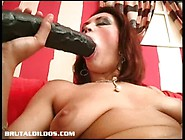 Ella's Tight Pussy Lips Grip Onto A Giant Brutal Dildo