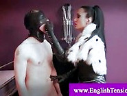 Sex Slave Bitch Gets His Nipples Tortured And Licks Dominatrix B