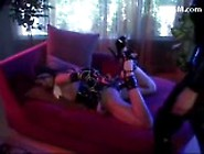 Bondaged Girl In Pvc Outfit Getting Tickled By Mistress On The C