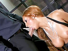 Buxom Whore With A Shaved Pussy Enjoying An Awesome Cowgirl Styl