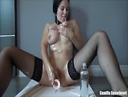 Busty Amateur Babe Oils Her Body And Pleases Herself With Dildo