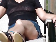 Wife In Skirt Without Panties On The Sun