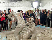 Wild Brunette With A Slim Sexy Body Having A Catfight In A Mudba