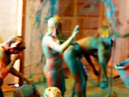 Girls Go Totally Crazy In A Nude Paint Battle - Soft