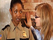 Sexy Black Cop Gets Fucked By A Couple Of Lady Partners