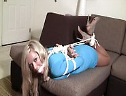 Hogtied And Ballgagged On The Couch