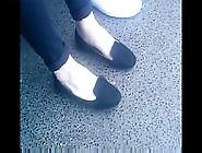 Candid Feet In Flats Shoeplay