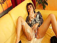 Cum Drenched Euro Rubs Her Wet Pussy