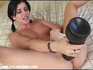 Raven Haired Teen Pink Pussy Gaped By Massive Dildo