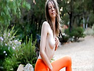 Skinny Babe With Long Hair Masturbating Outdoor