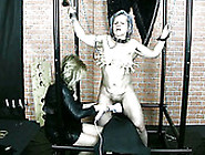 Dominant Blonde Slaps Wrinkled Droopy Ass Of Tied Up Old Whore B