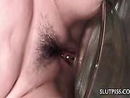 Pierced Teen Hoe Sucking Dildo And Pissing In A Bowl