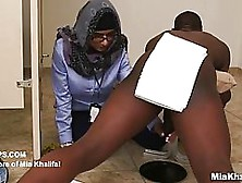 Impudent Slut,  Mia Khalifa Is Playing With A White Cock And A Bl