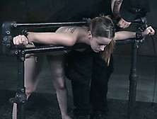 Cute White Girl Restrained To The Pipes And Spanked Hard