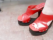 Shoeplay In Red Shank Less Wedges