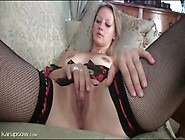 Pretty Mom In Black Fishnet Stockings Masturbates