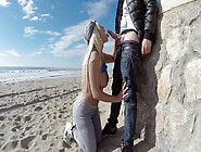 A Blonde Is On The Beach,  Having Sex In Public With A Horny Dude