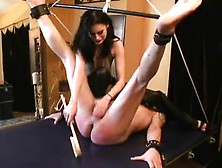 Nasty Dominatrix Spanks Her Thrall Hard