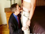 Daddy In A Suit Eagerly Sucking Cock