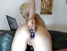 Blonde Slut Takes 3 Butt Plugs In Ass At Once