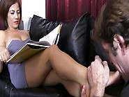 Mature Domme Smothers Slave With Feet