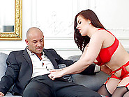 Maid Wearing The Red Lingerie Taking The Bald Guy's Cock Into An