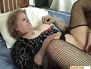 Granny Wear Pantyhose And High Heels In Bed
