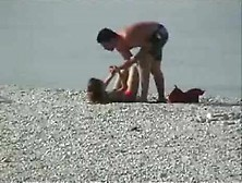 Wife Beating Husband Beach Fight Bikini