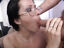 Girl In Glasses Gives Great Blowjob