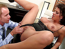 Vivacious Cougar With Fabulous Juggs Getting Her Shaved Pussy Li