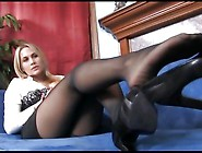 Busty Blonde Alanah Rae Teases In Sheer Black Pantyhose